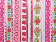 beschichteter Baumwollstoff Streifen Bordüre Herzen Blumen, rosa