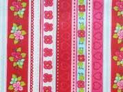 RESTSTÜCK 70 cm beschichtete Baumwolle Herzen Blumen Bordüre, rot
