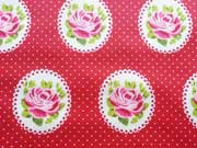 RESTSTÜCK 70 cm beschichtete Baumwolle Rosen Ornamente, rot
