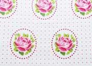 beschichtete Baumwolle Rosen Ornamente, weiss