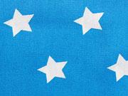 Beschichtete Baumwolle Sterne 2 cm - türkis/weiß