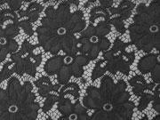 elastische Spitze Blumen Meterware- schwarz