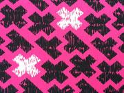 Jersey gestrichelte Kreuze, pink weiss