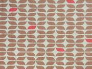 RESTSTÜCK 37 cm Baumwollstoff grafisches Muster Knoten Camelot Design, beige creme