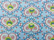 RESTSTÜCKE 80 cm laminierte BW Herzen & Blumen -blau