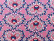 RESTSTÜCK 91 cm laminierte BW Herzen & Blumen -rosa