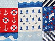Baumwollstoff Anker Delfine Boote Patchworkstil, weiß blau