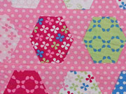 Baumwolle Patchwork Sechseck Pünktchen, rosa