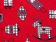 Baumwollstoff Glocken Geschenke Sterne, rot